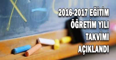 2016-2017 Eğitim Öğretim Yılı Takvimi!