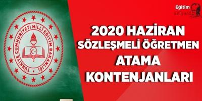 2020 Haziran Sözleşmeli Öğretmen Atama Kontenjanları Yayımlandı