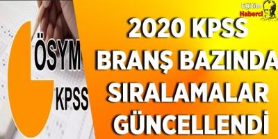 2020 KPSS branş bazında sıralamalar güncellendi