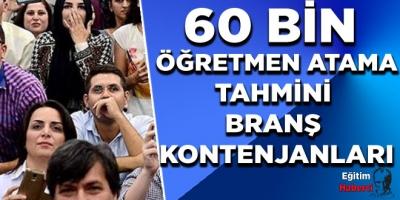 60 BİN  ÖĞRETMEN ATAMA TAHMİNİ  BRANŞ  KONTENJANLARI