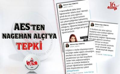 AES'TEN NAGEHAN ALÇI'YA TEPKİ