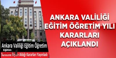 Ankara Valiliği Eğitim Öğretim Sürecine İlişkin Karar