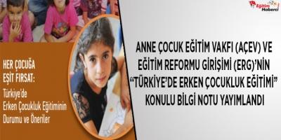 """Anne Çocuk Eğitim Vakfı (AÇEV) ve Eğitim Reformu Girişimi (ERG)'nin """"Türkiye'de Erken Çocukluk Eğitimi"""" Konulu Bilgi Notu Yayımlandı"""