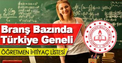 Branş Bazında Türkiye Geneli Toplam Öğretmen İhtiyacı