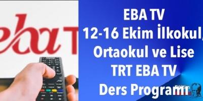 EBA TV 12-16 Ekim İlkokul, Ortaokul ve Lise TRT EBA TV Ders Programı