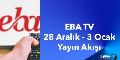 EBA TV 28 Aralık - 3 Ocak Yayın Akışı