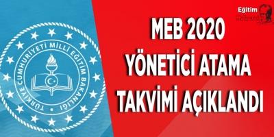MEB 2020 Yönetici Atama Takvimi Açıklandı