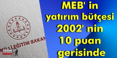 MEB' in yatırım bütçesi 2002' nin 10 puan gerisinde