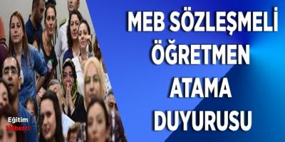MEB Sözleşmeli Öğretmen Atama Duyurusu