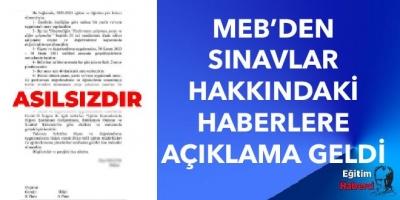 MEB'den Sınavlar Hakkındaki Haberlere Açıklama Geldi