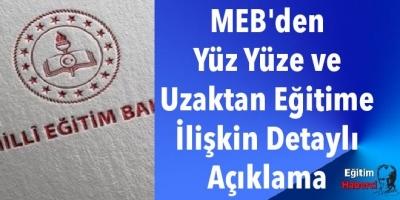 MEB'den Yüz Yüze ve Uzaktan Eğitime İlişkin Detaylı Açıklama