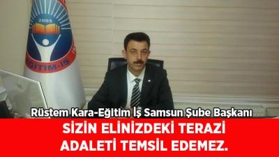 SİZİN ELİNİZDEKİ TERAZİ ADALETİ TEMSİL EDEMEZ.