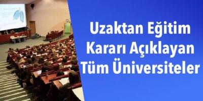 Uzaktan Eğitim Kararı Açıklayan   Tüm Üniversiteler