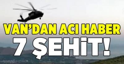 Van'dan acı haber:Keşif Uçağı Düştü 7 Şehidimiz Var